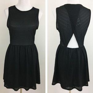 NWT Topshop Black Sheer Cutout Skater Dress
